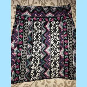 pattern Aztec purples mini elastic waist skirt